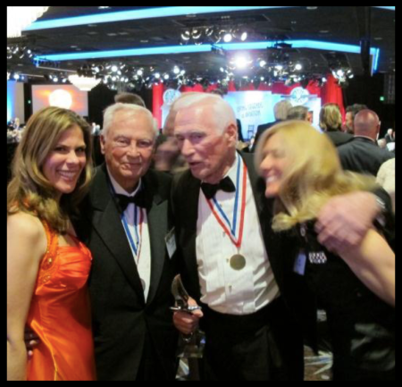 Michelle Rouch, Barron Hilton, Apollo XVII - Gene Cernan with Award, and Mimi Stuart